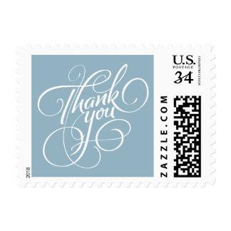 Aquamarine Blue Thank You Postage Stamp