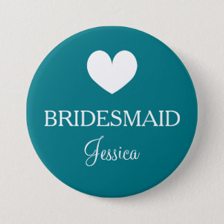 Aquamarine bridesmaid badges for wedding party pinback button