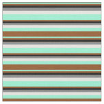 [ Thumbnail: Aquamarine, Brown, Black, Grey, and Mint Cream Fabric ]
