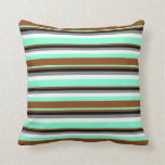 [ Thumbnail: Aquamarine, Brown, Black, Grey, and Mint Cream Throw Pillow ]