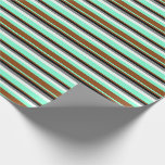 [ Thumbnail: Aquamarine, Brown, Black, Grey, and Mint Cream Wrapping Paper ]