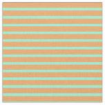[ Thumbnail: Aquamarine & Brown Colored Striped Pattern Fabric ]