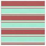 [ Thumbnail: Aquamarine, Brown & Mint Cream Stripes Pattern Fabric ]