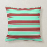 [ Thumbnail: Aquamarine, Brown & Mint Cream Stripes Pattern Throw Pillow ]