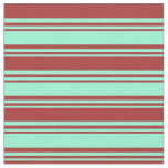 [ Thumbnail: Aquamarine & Brown Stripes/Lines Pattern Fabric ]