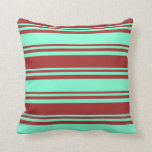 [ Thumbnail: Aquamarine & Brown Stripes/Lines Pattern Pillow ]