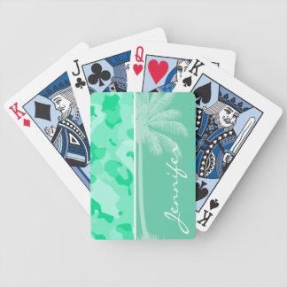 Aquamarine Camo; Camouflage; Palm Poker Deck