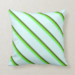 [ Thumbnail: Aquamarine, Chartreuse, Dark Olive Green & Cyan Throw Pillow ]