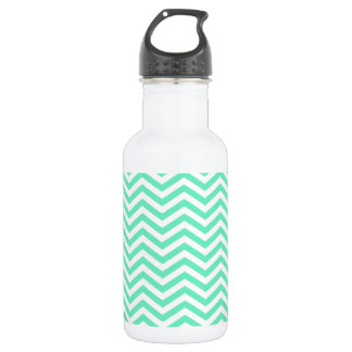 Aquamarine Chevron; zig zag Water Bottle