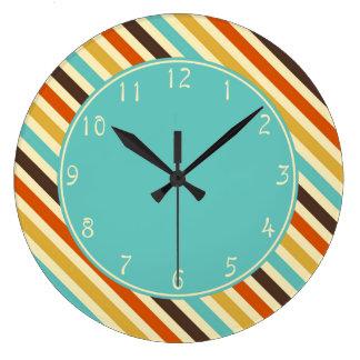 Aquamarine circle Diagonal Stripes Blue Yellow Red Large Clock