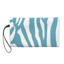 Aquamarine Color Animal Print Zebra Stripe Wristlet Purse