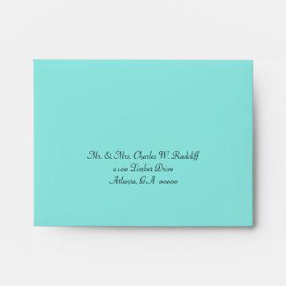 Aquamarine & Coral Wedding RSVP Envelope