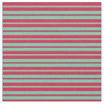 [ Thumbnail: Aquamarine & Crimson Colored Lines Fabric ]