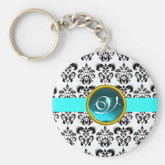 AQUAMARINE DAMASK MONOGRAM,blue turquase Basic Round Button Keychain