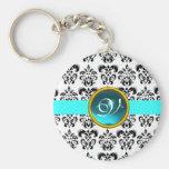 AQUAMARINE DAMASK MONOGRAM,blue turquase Key Chains