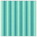 [ Thumbnail: Aquamarine & Dark Cyan Lined Pattern Fabric ]