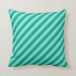 [ Thumbnail: Aquamarine & Dark Cyan Lined Pattern Throw Pillow ]