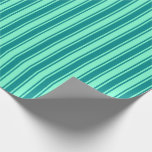 [ Thumbnail: Aquamarine & Dark Cyan Lined Pattern Wrapping Paper ]