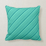 [ Thumbnail: Aquamarine & Dark Cyan Lined/Striped Pattern Throw Pillow ]
