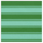 [ Thumbnail: Aquamarine & Dark Green Colored Striped Pattern Fabric ]