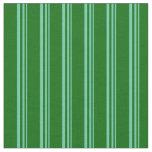 [ Thumbnail: Aquamarine & Dark Green Colored Stripes Fabric ]