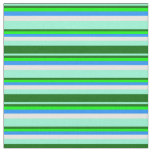 [ Thumbnail: Aquamarine, Dark Green, Lime, Blue, and White Fabric ]