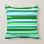 [ Thumbnail: Aquamarine, Dark Green, Lime, Blue, and White Throw Pillow ]