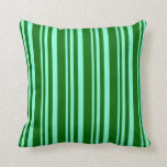 [ Thumbnail: Aquamarine & Dark Green Lined/Striped Pattern Throw Pillow ]