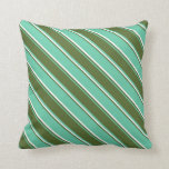 [ Thumbnail: Aquamarine, Dark Olive Green, and White Colored Throw Pillow ]