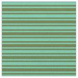 [ Thumbnail: Aquamarine & Dark Olive Green Lines Fabric ]