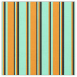 [ Thumbnail: Aquamarine, Dark Orange & Black Colored Stripes Fabric ]
