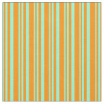 [ Thumbnail: Aquamarine & Dark Orange Lines/Stripes Pattern Fabric ]