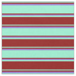 [ Thumbnail: Aquamarine, Dark Red & Purple Colored Lines Fabric ]