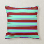 [ Thumbnail: Aquamarine, Dark Red & Purple Colored Lines Pillow ]