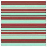 [ Thumbnail: Aquamarine & Dark Red Stripes Fabric ]
