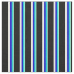 [ Thumbnail: Aquamarine, Dark Turquoise, Blue, White, and Black Fabric ]