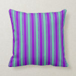 [ Thumbnail: Aquamarine & Dark Violet Colored Pattern Pillow ]