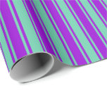 [ Thumbnail: Aquamarine & Dark Violet Colored Pattern Wrapping Paper ]