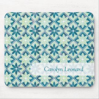 Aquamarine Decorative Floral Tiles Name Mousepad