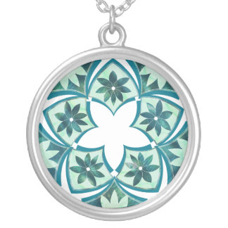 Aquamarine Decorative Floral Tiles Necklace