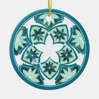 Aquamarine Decorative Floral Tiles Ornament