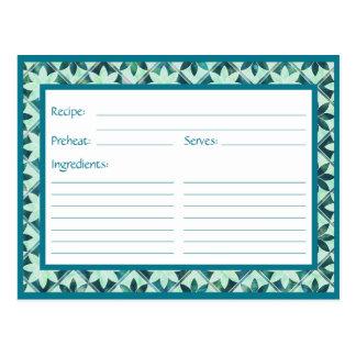 Aquamarine Decorative Floral Tiles Recipe Card Post Cards