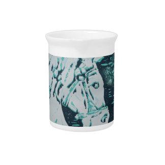 Aquamarine del caballo del carrusel jarras para bebida