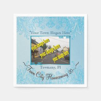Aquamarine del regreso al hogar de la ciudad de la servilletas de papel