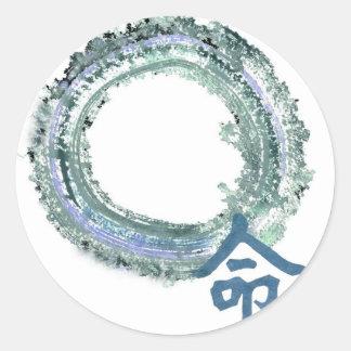 Aquamarine Destiny - Enso Classic Round Sticker