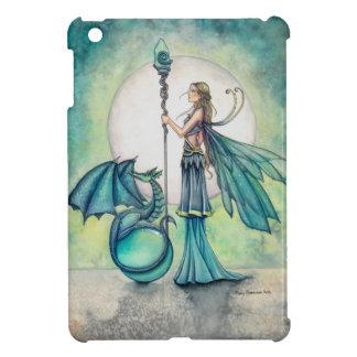 Aquamarine Dragon and Fairy Fantasy Art iPad Mini Cover