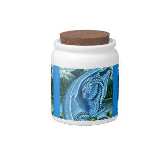 Aquamarine Dragon Candy Jar