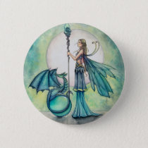 Aquamarine Dragon Fairy Fantasy Art Button