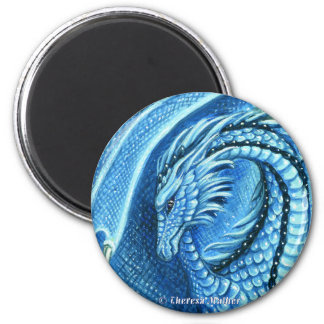 Aquamarine Dragon Round Magnet