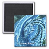 Aquamarine Dragon Square Magnet